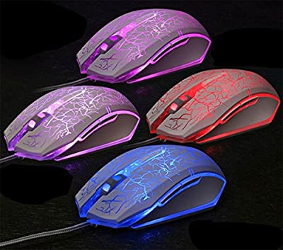 Gaming Mouse,Wired Mouse,Ergonomic Led Mouse,Cool Mouse with 7 Colors LED Lights, 6 Buttons,4 DPI Settings Up to 2400 DPI for Laptop PC Computer Gamer