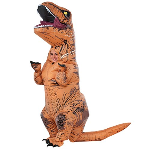 Inflatable T-Rex Costume - Blow Up Jurassic World Dress Up Dinosaur for Halloween and Cosplay - Battery Operated - by Rubie's (Children's) (Real Life Dinosaur Costumes)