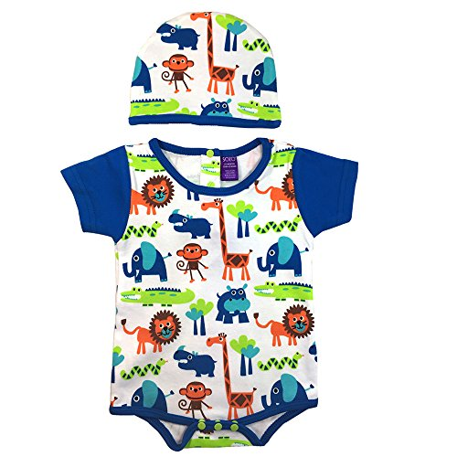 Sozo Baby Boys Jungle Print Bodysuit & Hat Set, Multi, 0-3 Months
