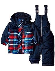 Rugged Bear Baby Boys' Plaid Snowboard Expedition 2Pc Snowsuit Ski Bib Pant Set, Navy, 24 Months
