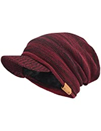 Mens Womens Thick Fleece Lined Knit Newsboy Cap Slouch Beanie Hat with Visor 4e73d85e3eb4