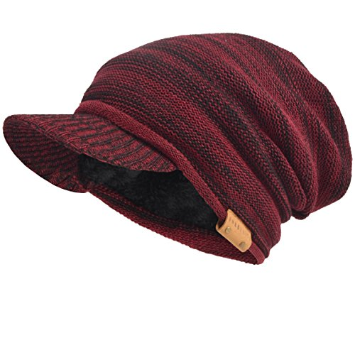 VECRY Mens Womens Thick Fleece Lined Knit newsboy Cap Slouch Beanie Hat With Visor (Claret) (Fleece Visor Beanie)
