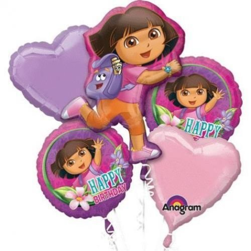 Nicekeleon Dora the Explorer Balloon Birthday Party Favor Supplies 5ct Foil Balloon Bouquet ()