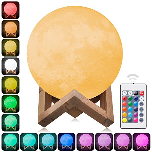 3D Moon Lamp Printed Night Light,Elstey Remote Control 16 Colors Change Optical Illusion LED Lunar Moonlight Globe Ball with Wood Stand Base for Kids Room Baby Nursery Bedroom Decor Diameter 15CM