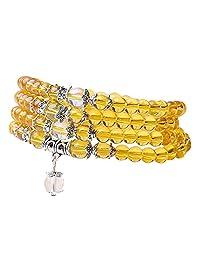6mm Yoga Meditation Simulated 108 Prayer Beads Simulated Crystal Amethyst/Topaz Mala Wrap Bracelet Necklace (Citrine Beads)