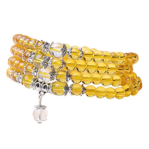 (6mm Yoga Meditation Simulated 108 Prayer Beads Simulated Crystal Amethyst/Topaz Mala Wrap Bracelet Necklace (Citrine Beads))