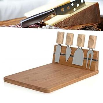 JUNEO TKSTAR bambú para quesos con 3 Cuchillos de Queso y 1 ...