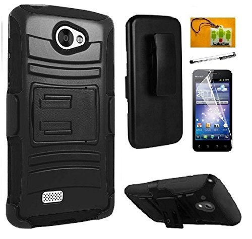LG Lancet VW820 (Verizon), LF 4 in 1 Bundle - Hybrid Armor Stand Case with Holster and Locking Belt Clip, Lf Stylus Pen, Screen Protector & Droid Wiper Accessory (Holster Black)