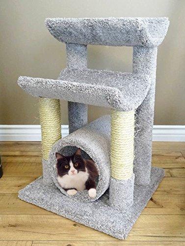 Gray Cat Rope (Carpet Kitty Tree Hammock 30 inch Gray Cat Furniture Scratcher Rope Poles)