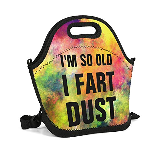 UHOMEW Lunch Bag Lunch Tote Lunch Box Handbag I'm SO Old I Fart DUST  for Men Women Adults Nurses