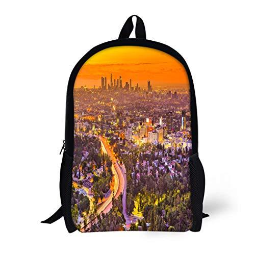 Pinbeam Backpack Travel Daypack Cityscape Los Angeles California Usa Skyline Boulevard Hollywood Waterproof School -