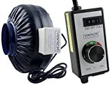 paint room exhaust fan - VenTech VT IF-6-B Inline Exhaust Blower Fan with Variable Speed Controller, 440 CFM, 6
