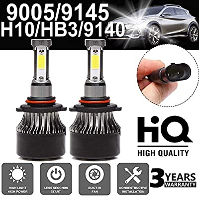 LED Headlight Bulbs 9005 / HB3 / H10 / 9145/9140 High Beam/Low Beam - 4 Sides 120W High Power 12000LM Super Bright 6000K White Headlamp/Fog Light/DRL Replacement Kit - Package of 2: Automotive