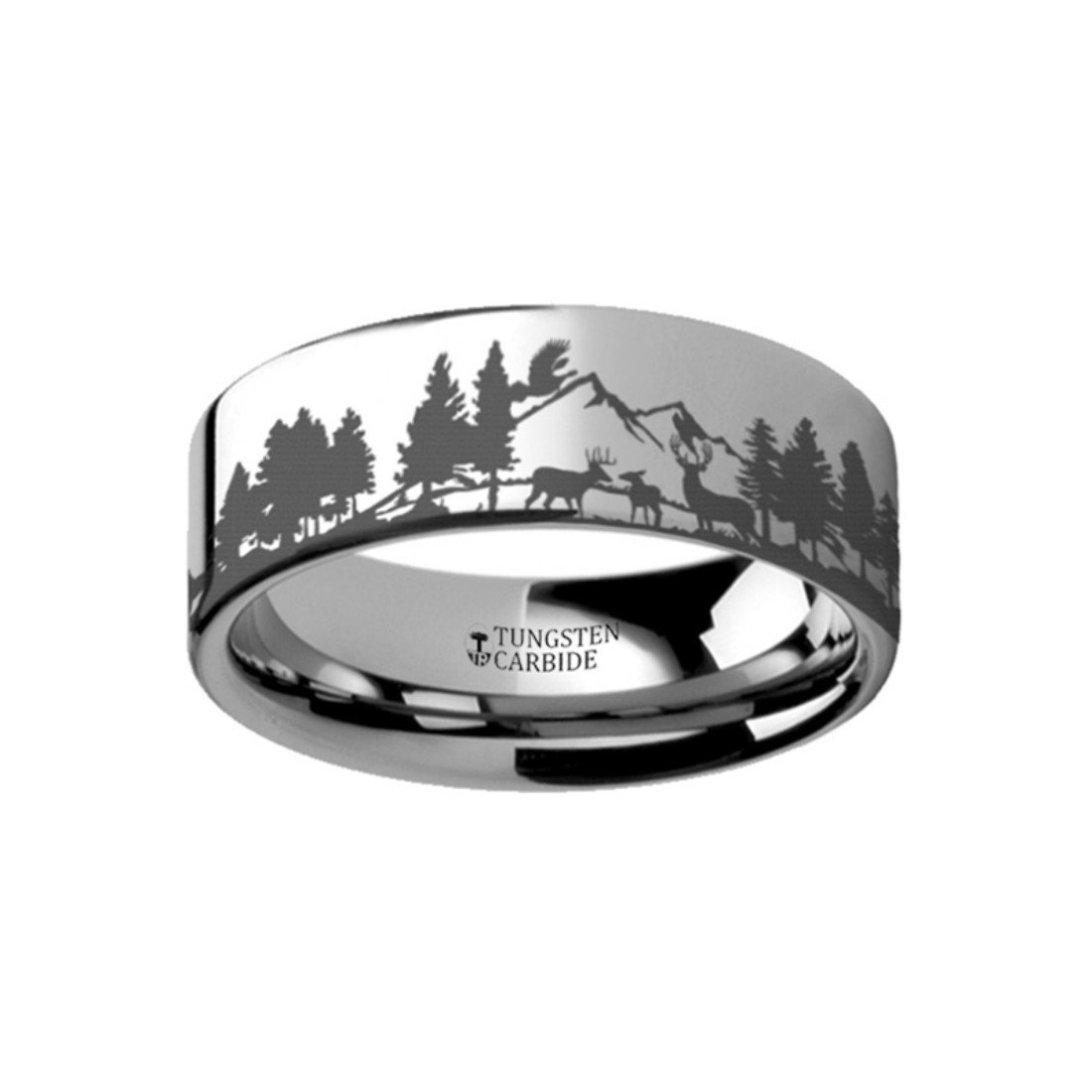 Thorsten Animal Nature Landscape Reindeer Deer Stag Mountain Range Ring Tungsten Ring 10mm Wide Wedding Band from Roy Rose Jewelry