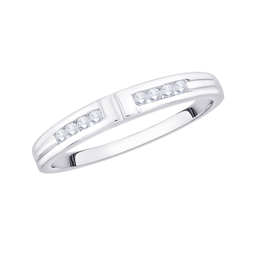Diamond Wedding Band in 10K White Gold 1//8 cttw, Size-11.25 G-H,I2-I3