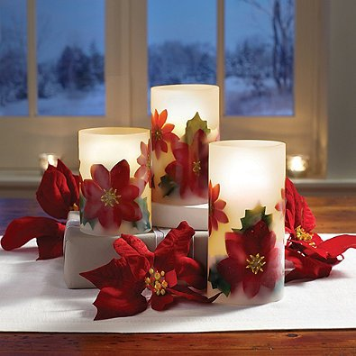 Loft Living LED Flameless Poinsettia Candle (Set of 3) l Glow and Flicker of Standard Candles with the Safety of Flameless - Bath Williamsburg 2 Light