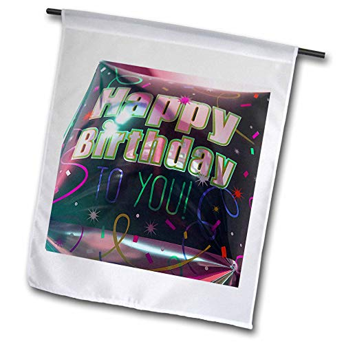 3dRose Jos Fauxtographee- Birthday - A Big Square Balloon That says Happy Birthday to You in Black - 12 x 18 inch Garden Flag (fl_320075_1) (Images Of Balloons That Say Happy Birthday)