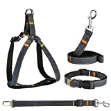 Cheap POWEROWL Dog Harness 4 in 1 Safety Harness Easy On/Off Adjustable No-Pull Outdoor Travel Strap Vest Harness with Leash, Seat Belt and Collar for Puppy Denim Texture S