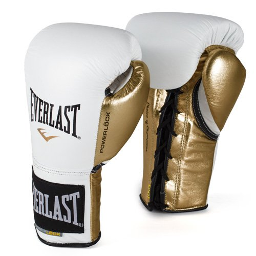 Everlast PowerLock Pro Fight Gloves 10oz Wht/Gld PowerLock Pro Fight Gloves (Pro Fight Gloves)