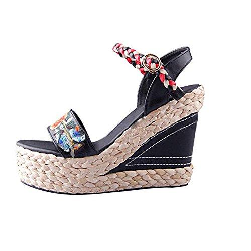 Donna Black Toe Weave Zeppa Elegante Da Huateng Open Alti Piattaforma Sexy Bohemian Sandali Tacchi Squisita Con w6ZqE