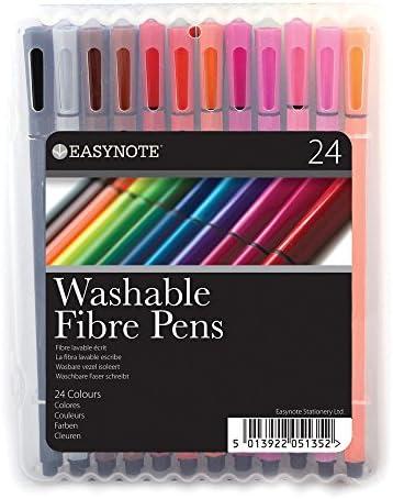 Coloured Felt Tips Colouring Professional 12 Washable Easynote Fibre Pens
