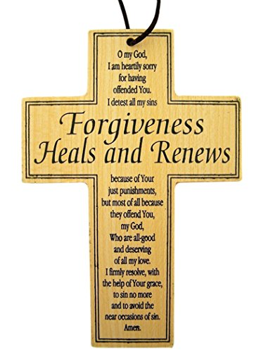 Forgiveness Heals and Renews Wooden Inspirational Prayer Cross, 4 3/4 Inch