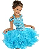 ChenFeL Infant Girls' Ruffle Crystal Halter Cupcake Pageant Dress 4 US Blue