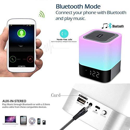 Aisuo Night Light-5 in 1 Bedside Lamp with Bluetooth Speaker,12/24H Digital Calendar Alarm Clock,Touch Control & 4000mAh…