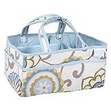 Trend Lab Waverly Baby Pom Pom Spa Diaper Caddy, Blue/Cream/Green/Gray