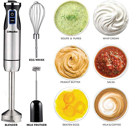 Mueller Austria Ultra-Stick 500 Watt 9-Speed Immersion Multi-Purpose Hand Blender Heavy Duty Copper Motor Brushed 304 Stainless Steel With Whisk, Milk Frother Attachments 51Sd nPu8YL