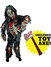 Zombie Deluxe Costume for Child with Bloody Axe