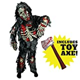 Spooktacular Creations Zombie Deluxe Costume for Child with Bloody Axe (L 10-12 yrs)