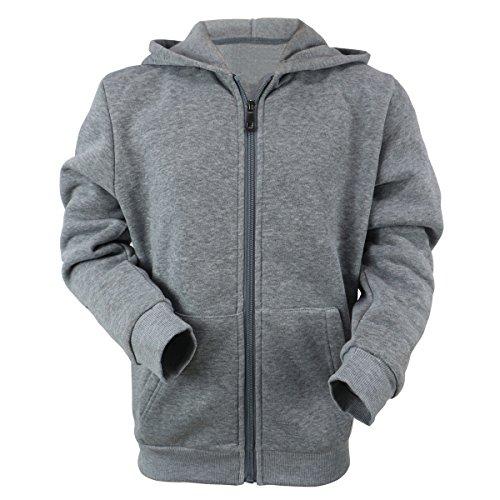 Urimoser Hoodies for Boys Full Zip Lightweight Fleece Athletic Kids Sweatshirt (Light Grey, 8)