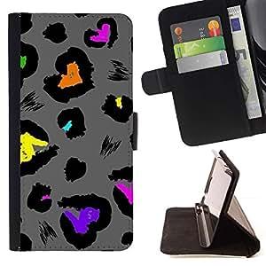 Momo Phone Case / Flip Funda de Cuero Case Cover - Piel de Jaguar Patrón Gris - Samsung Galaxy S5 V SM-G900