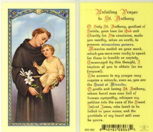 - WJ Hirten E24-303 Unfailing Prayer to St. Anthony, Clear Holy Cards