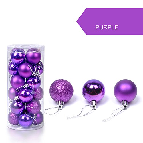 Fine Christmas Ball Ornaments Shatterproof Christmas Decorations Tree Balls Small for Holiday Wedding Party Decoration, Tree Ornaments Hooks (Purple)