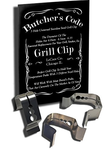 Butchers Code - Univeral 3 Hole - 3 PACK - A Style - Grill Probe Clip - For Ambient Temperature Readings (3)