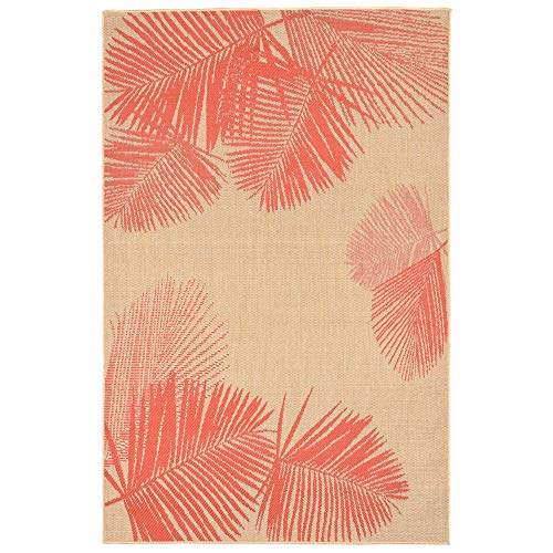 Liora Manne TER58179217 Tropical Botanical Leaves Terrace Casual Palm Indoor/Outdoor Rug, 4'10