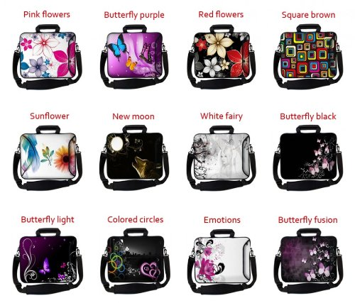 Amazon.com: MySleeveDesign Notebook Carry Bag Laptop Neoprene Case with Shoulder Strap 15 - 15.6 Inch - SEVERAL DESIGNS - Purple Flower: Computers & ...