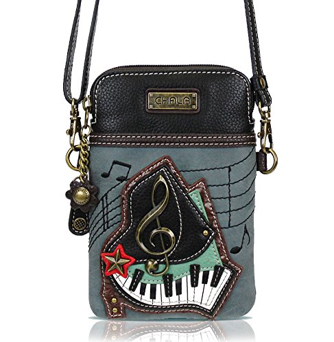 Chala Crossbody Cell Phone Purse, PU Leather Multicolor Handbag with Adjustable Strap - Piano Keys - Indigo