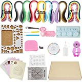 Quilling Paper Kits with Tools 1940 Strips Board Mould Crimper Coach Comb DIY Set with 16 Different Patterns Making Drawings (3mm/5mm/7mm/10mm paper width)