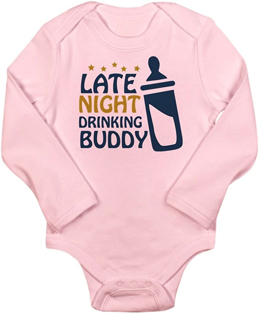 CafePress Late Night Drinking Buddy Long Sleeve Infant Bodys Cute Long Sleeve Infant Bodysuit Baby Romper Petal Pink