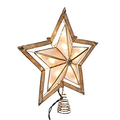 Kurt Adler 10 Light 10-Inch 5 Point Large Star with Smoke Capiz Treetop with 2-Inch Thick Gold Paint Finish by Kurt Adler