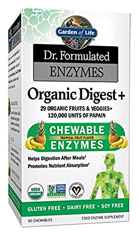 Garden of Life Organic Chewable Enzyme Supplement - Dr. Formulated Enzymes Organic Digest+, 90 Chewable - 90 Chewable Tabs
