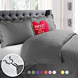 What Size Is a California King Bed Nestl Bedding Duvet Cover, Protects and Covers your Comforter / Duvet Insert, Luxury 100% Super Soft Microfiber, Cal King Size, Color Charcoal Gray, 3 Piece Duvet Cover Set Includes 2 Pillow Shams