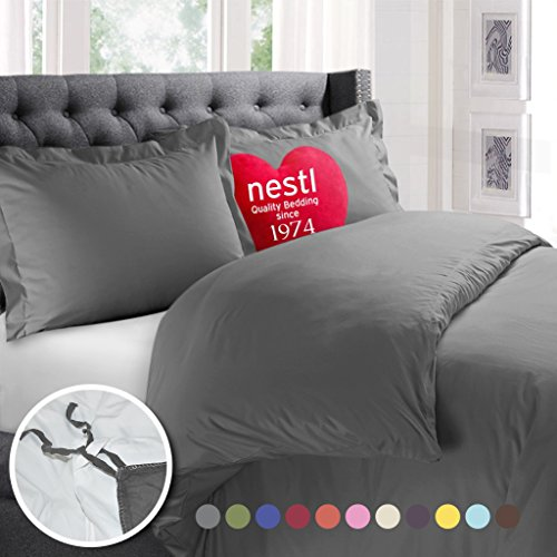 Nestl Bedding Duvet Cover, Protects and Covers your Comforter/Duvet Insert, Luxury 100% Super Soft Microfiber, Full Size, Color Charcoal Gray, 3 Piece Duvet Cover Set Includes 2 Pillow Shams - Double Duvet