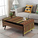 Large African Drum Coffee Table iPrint Linen Blend Tablecloth,Side Pocket Design,Rectangular Coffee Table Pad,Ethnic,African Tribal Pattern with Abstract Folk Figures and Drum Icons Traditional Design,Multicolor,for Home Decor