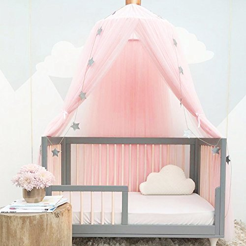 Luerme Dome Fantasy Champion Netting Curtains Play Tent Bed Canopy Mosquito Net Bedding with Round Lace Baby Boys Girls Games House for Kids' Playing Reading (Pink) (Gold Canopy Tent)