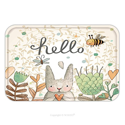 [Flannel Microfiber Non-slip Rubber Backing Soft Absorbent Doormat Mat Rug Carpet Stunning Card With Cute Rabbit Butterfly And Bee In Summer Flowers Awesome Background Made In 255670132 for Indoor/Outd] (Spike The Rabbit Costume)