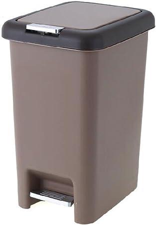 W&H Caja De Almacenamiento De Basura, Basurero Manual, Cubo De Basura Grande De Plástico para El Hogar - Tipo Pedal, 8L / 10L / 15L Opcional ++ (Color : Brown, Size : 15L): Amazon.es: Hogar